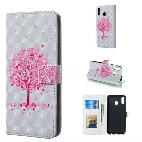 Sakura Flower Tree 3D Painted Leather Phone Wallet Case for Samsung Galaxy M20