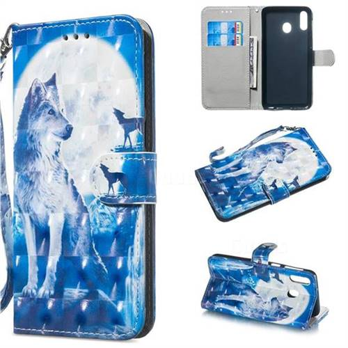Ice Wolf 3D Painted Leather Wallet Phone Case for Samsung Galaxy M20