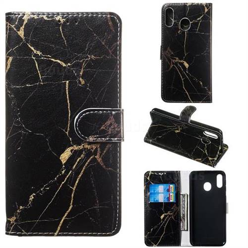 Black Gold Marble PU Leather Wallet Case for Samsung Galaxy M20