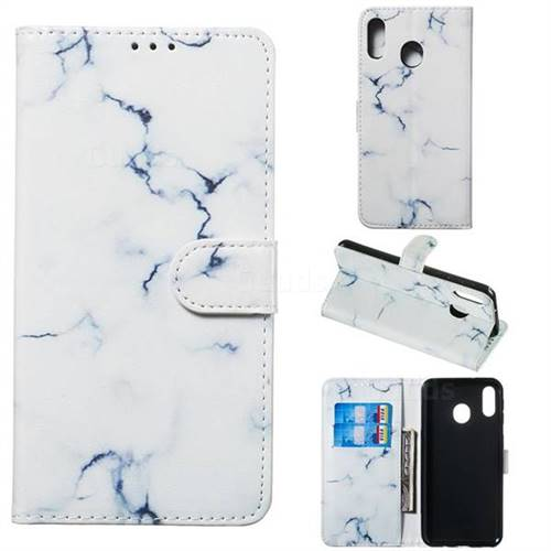 Soft White Marble PU Leather Wallet Case for Samsung Galaxy M20