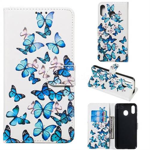 Blue Vivid Butterflies PU Leather Wallet Case for Samsung Galaxy M20