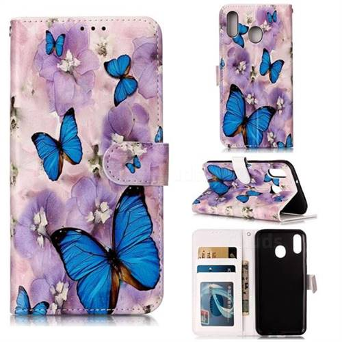 Purple Flowers Butterfly 3D Relief Oil PU Leather Wallet Case for Samsung Galaxy M20
