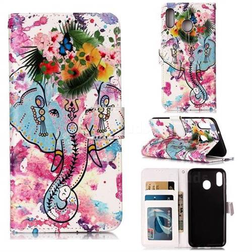 Flower Elephant 3D Relief Oil PU Leather Wallet Case for Samsung Galaxy M20