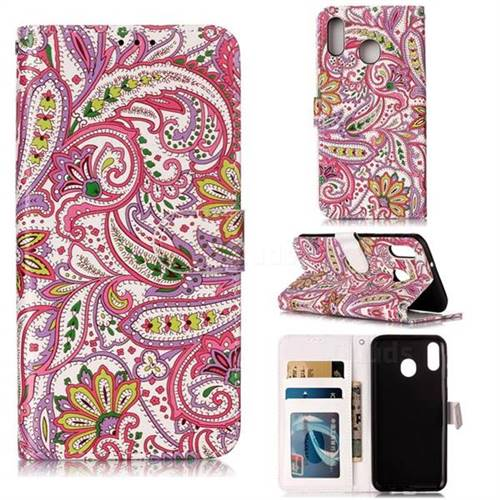 Pepper Flowers 3D Relief Oil PU Leather Wallet Case for Samsung Galaxy M20