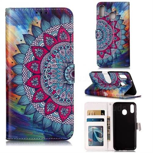 Mandala Flower 3D Relief Oil PU Leather Wallet Case for Samsung Galaxy M20