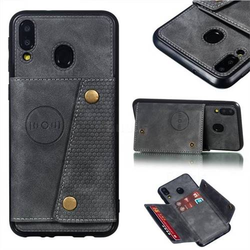 Retro Multifunction Card Slots Stand Leather Coated Phone Back Cover for Samsung Galaxy M20 - Gray