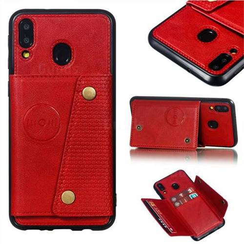 Retro Multifunction Card Slots Stand Leather Coated Phone Back Cover for Samsung Galaxy M20 - Red