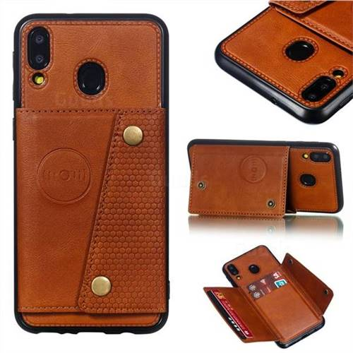 Retro Multifunction Card Slots Stand Leather Coated Phone Back Cover for Samsung Galaxy M20 - Brown