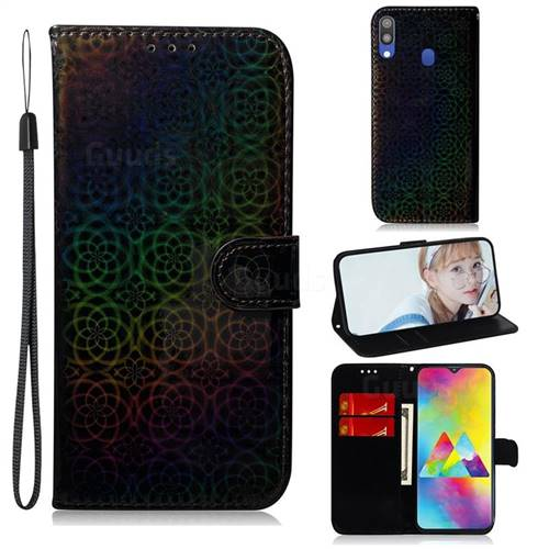 Laser Circle Shining Leather Wallet Phone Case for Samsung Galaxy M20 - Black