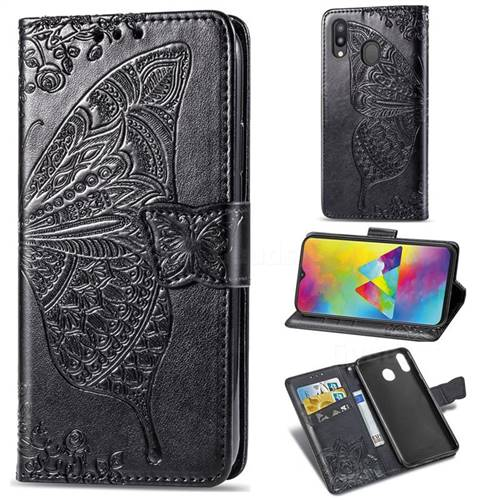Embossing Mandala Flower Butterfly Leather Wallet Case for Samsung Galaxy M20 - Black