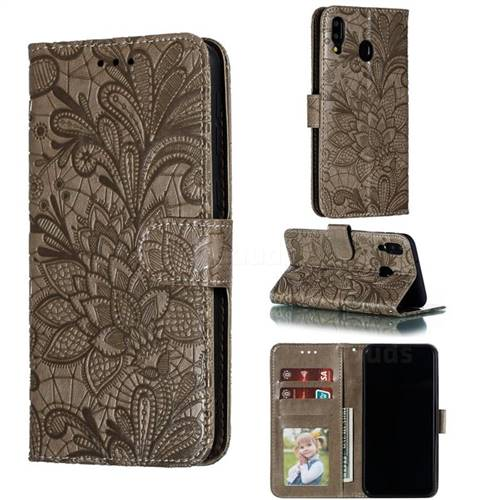 Intricate Embossing Lace Jasmine Flower Leather Wallet Case for Samsung Galaxy M20 - Gray