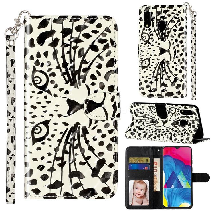 Leopard Panther 3D Leather Phone Holster Wallet Case for Samsung Galaxy M20
