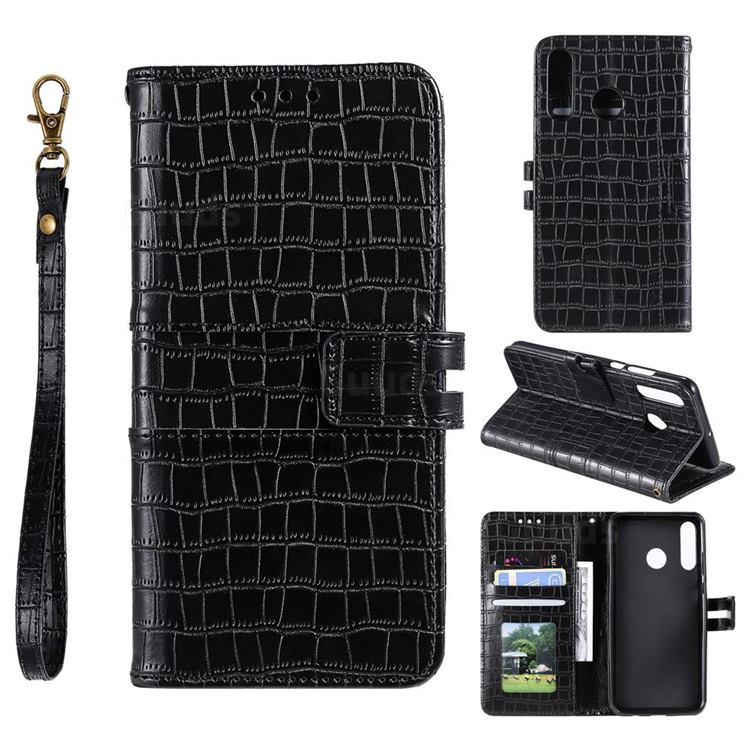 Luxury Crocodile Magnetic Leather Wallet Phone Case for Samsung Galaxy M20 - Black