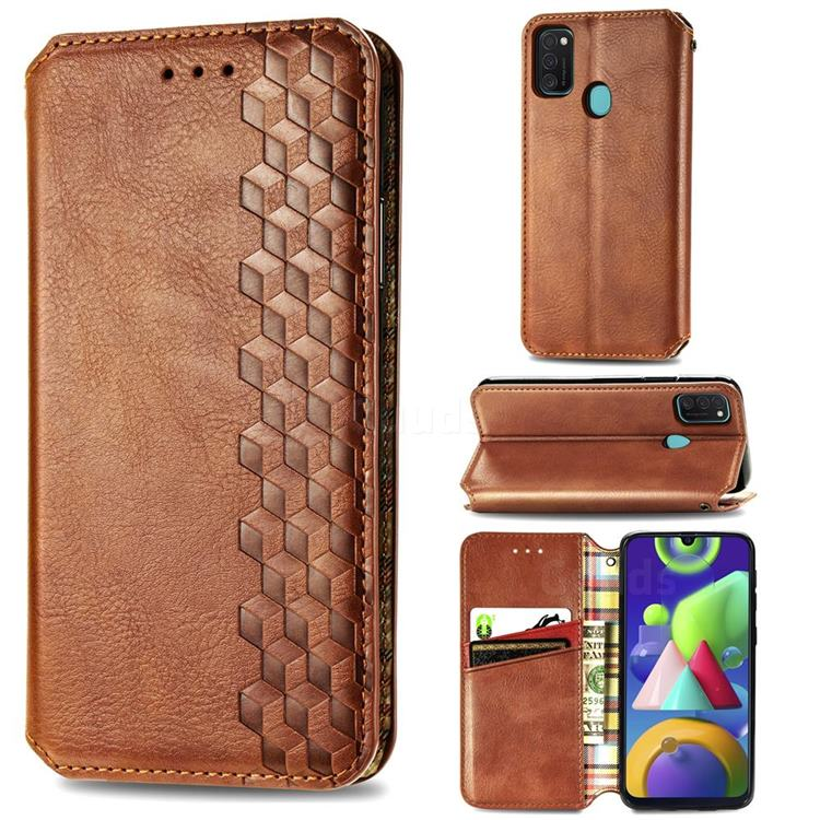 Ultra Slim Fashion Business Card Magnetic Automatic Suction Leather Flip Cover for Samsung Galaxy M21 - Brown