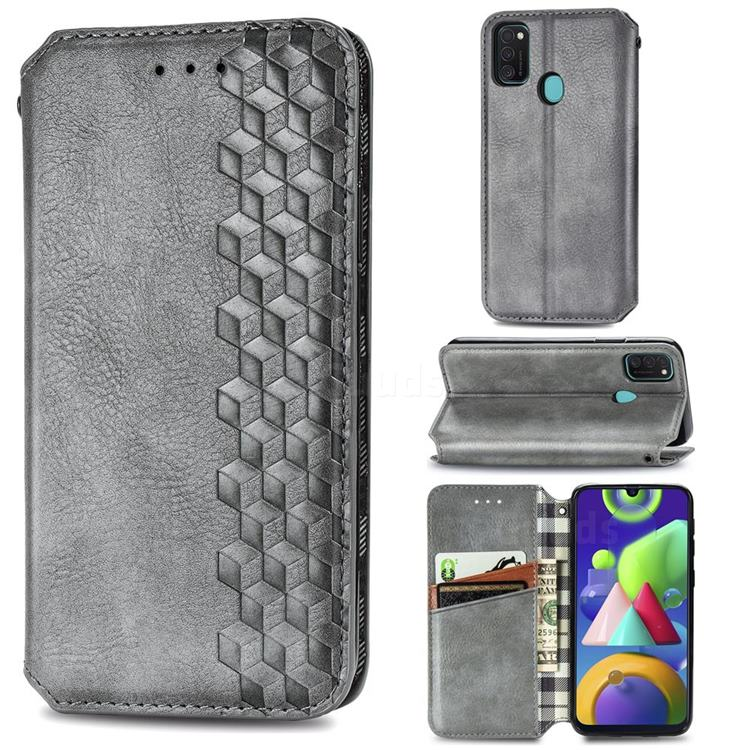 Ultra Slim Fashion Business Card Magnetic Automatic Suction Leather Flip Cover for Samsung Galaxy M21 - Grey