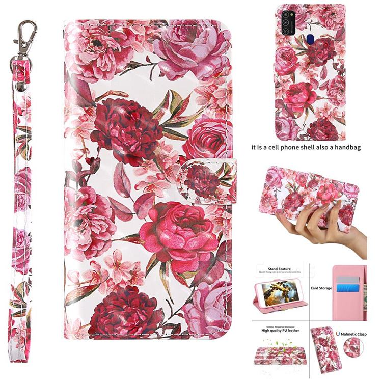 Red Flower 3D Painted Leather Wallet Case for Samsung Galaxy M21