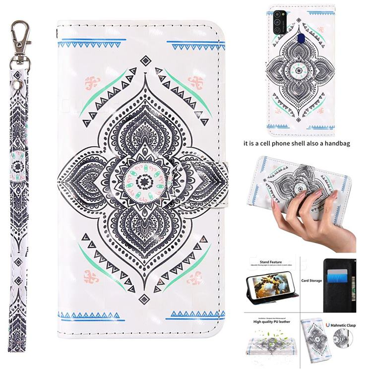 Mandala Totem 3D Painted Leather Wallet Case for Samsung Galaxy M21