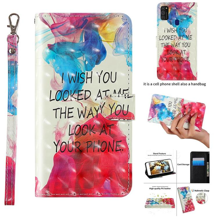 Look at Phone 3D Painted Leather Wallet Case for Samsung Galaxy M21