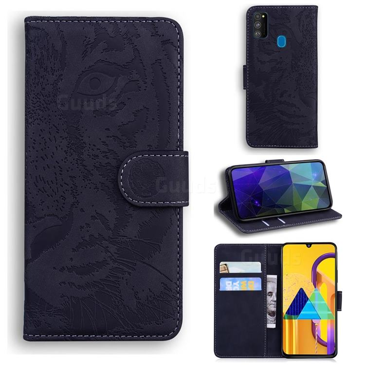 Intricate Embossing Tiger Face Leather Wallet Case for Samsung Galaxy M21 - Black