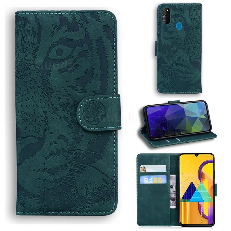 Intricate Embossing Tiger Face Leather Wallet Case for Samsung Galaxy M21 - Green