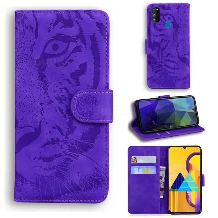 Intricate Embossing Tiger Face Leather Wallet Case for Samsung Galaxy M21 - Purple