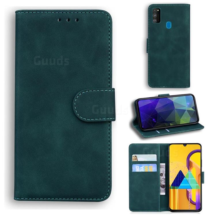 Retro Classic Skin Feel Leather Wallet Phone Case for Samsung Galaxy M21 - Green