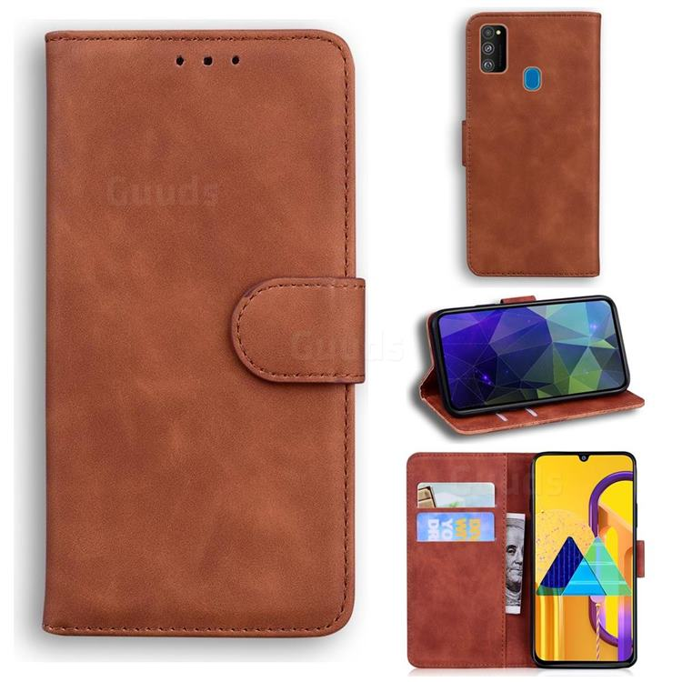Retro Classic Skin Feel Leather Wallet Phone Case for Samsung Galaxy M21 - Brown