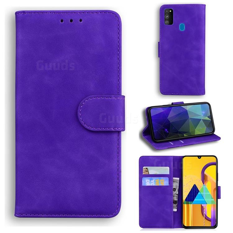 Retro Classic Skin Feel Leather Wallet Phone Case for Samsung Galaxy M21 - Purple