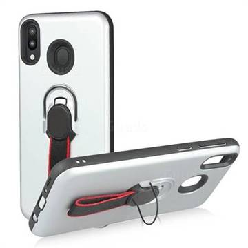 Raytheon Multi-function Ribbon Stand Back Cover for Samsung Galaxy M30 - Silver