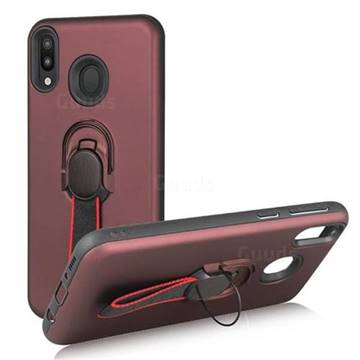 Raytheon Multi-function Ribbon Stand Back Cover for Samsung Galaxy M30 - Wine Red