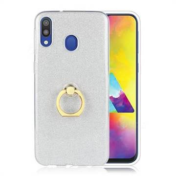 Luxury Soft TPU Glitter Back Ring Cover with 360 Rotate Finger Holder Buckle for Samsung Galaxy M30 - White