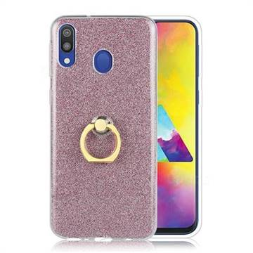 Luxury Soft TPU Glitter Back Ring Cover with 360 Rotate Finger Holder Buckle for Samsung Galaxy M30 - Pink