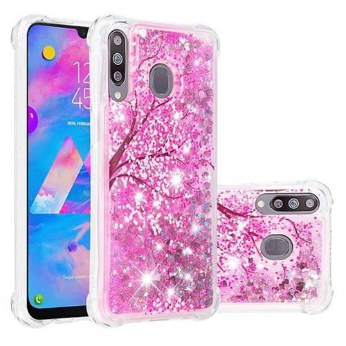 Pink Cherry Blossom Dynamic Liquid Glitter Sand Quicksand Star TPU Case for Samsung Galaxy M30