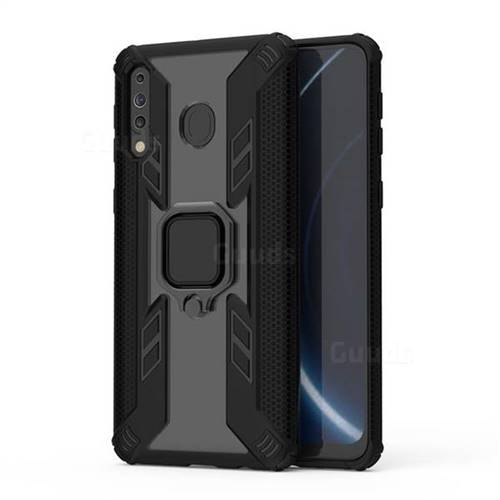 Predator Armor Metal Ring Grip Shockproof Dual Layer Rugged Hard Cover for Samsung Galaxy M30 - Black