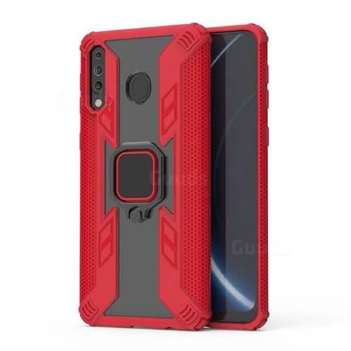 Predator Armor Metal Ring Grip Shockproof Dual Layer Rugged Hard Cover for Samsung Galaxy M30 - Red