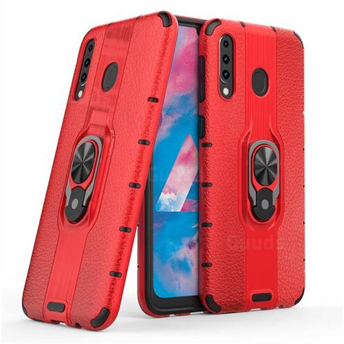 Alita Battle Angel Armor Metal Ring Grip Shockproof Dual Layer Rugged Hard Cover for Samsung Galaxy M30 - Red