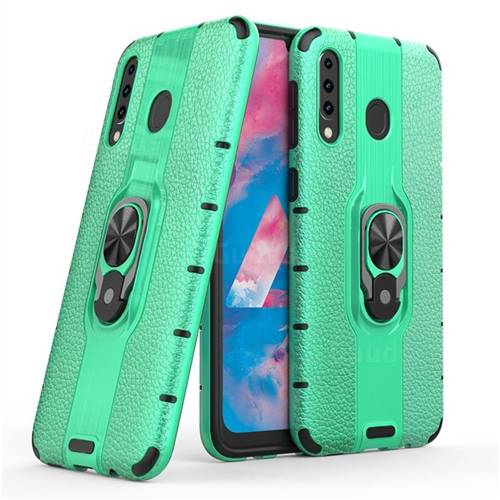 Alita Battle Angel Armor Metal Ring Grip Shockproof Dual Layer Rugged Hard Cover for Samsung Galaxy M30 - Green