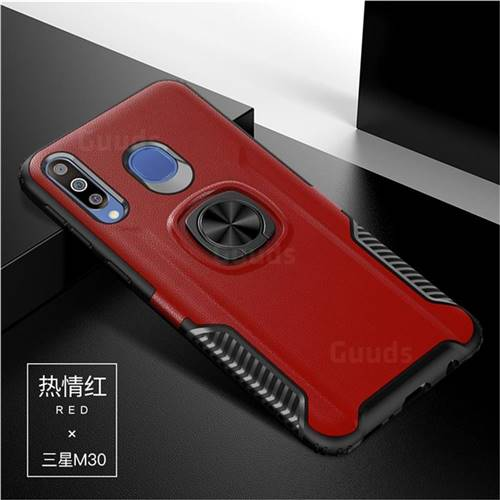 Knight Armor Anti Drop PC + Silicone Invisible Ring Holder Phone Cover for Samsung Galaxy M30 - Red