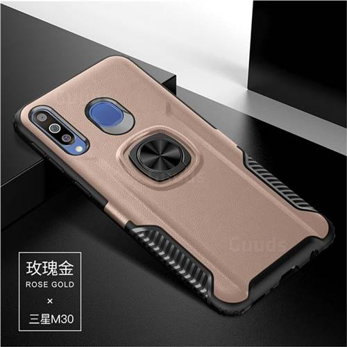 Knight Armor Anti Drop PC + Silicone Invisible Ring Holder Phone Cover for Samsung Galaxy M30 - Rose Gold