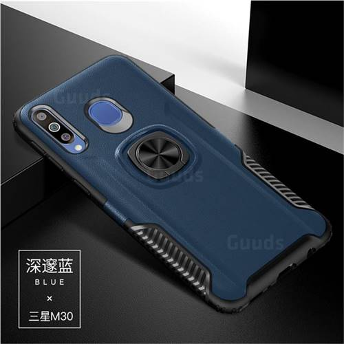 Knight Armor Anti Drop PC + Silicone Invisible Ring Holder Phone Cover for Samsung Galaxy M30 - Sapphire