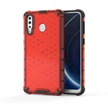 Honeycomb TPU + PC Hybrid Armor Shockproof Case Cover for Samsung Galaxy M30 - Red