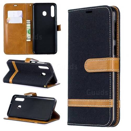 Jeans Cowboy Denim Leather Wallet Case for Samsung Galaxy M30 - Black