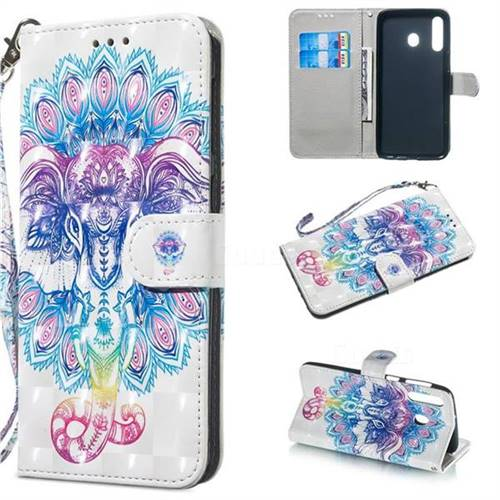 Colorful Elephant 3D Painted Leather Wallet Phone Case for Samsung Galaxy M30