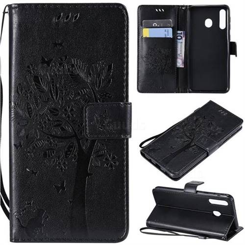 Embossing Butterfly Tree Leather Wallet Case for Samsung Galaxy M30 - Black