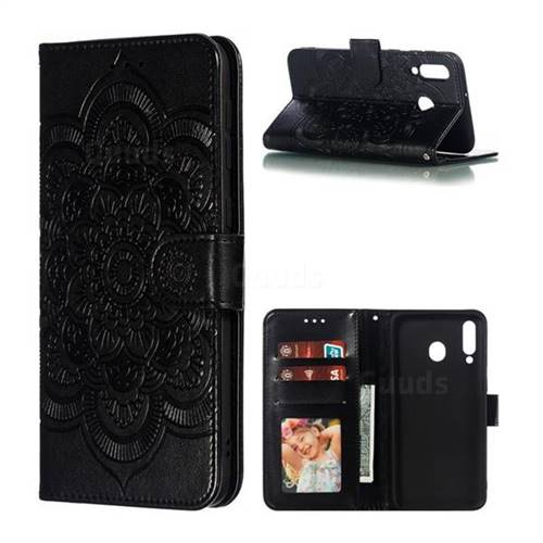 Intricate Embossing Datura Solar Leather Wallet Case for Samsung Galaxy M30 - Black
