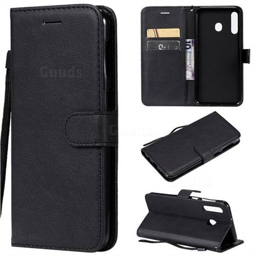 Retro Greek Classic Smooth PU Leather Wallet Phone Case for Samsung Galaxy M30 - Black
