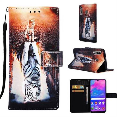 Cat and Tiger Matte Leather Wallet Phone Case for Samsung Galaxy M30