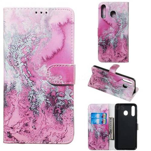 Pink Seawater PU Leather Wallet Case for Samsung Galaxy M30