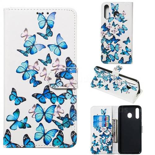 Blue Vivid Butterflies PU Leather Wallet Case for Samsung Galaxy M30