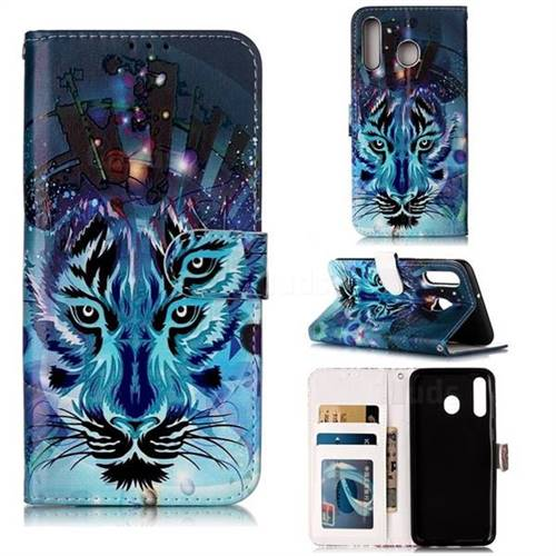 Ice Wolf 3D Relief Oil PU Leather Wallet Case for Samsung Galaxy M30